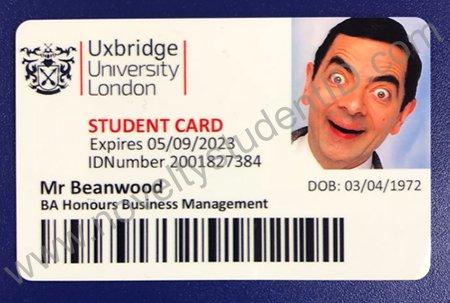 Uxbridge University Fake Student Novelty ID Card