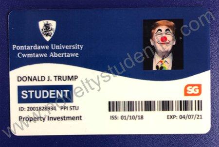 Pontardawe Fake Novelty Blag Welsh University Card ID