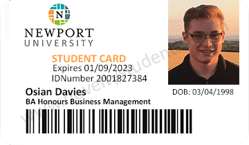 Newport Uni fake student id card