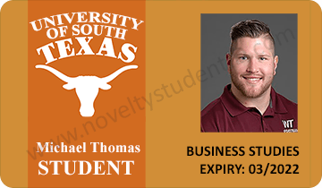 texas usa fake student id