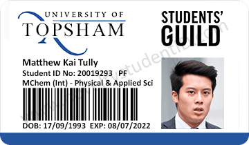 Topsham exeter student id card front