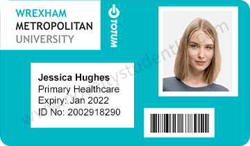 Wrexham student ID card front