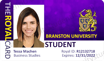 crasnston branston student card in the USA front