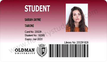 oldman newman student id card front