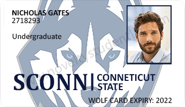 uconn conneticut student id card valid front
