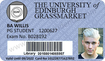 Edinburgh Grassmarket fake novelty student ID