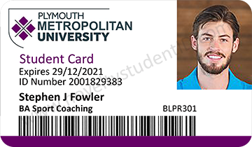 Plymouth University Student Card