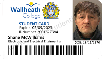 Wallheath Cheshire College Student Card